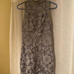 Blue/grey lace dress.